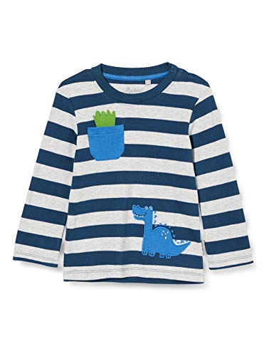 Sigikid Baby-Jungen Langarmshirt aus Bio-Baumwolle, Größe 062-098 Pullover, Blau/Streifen, 92