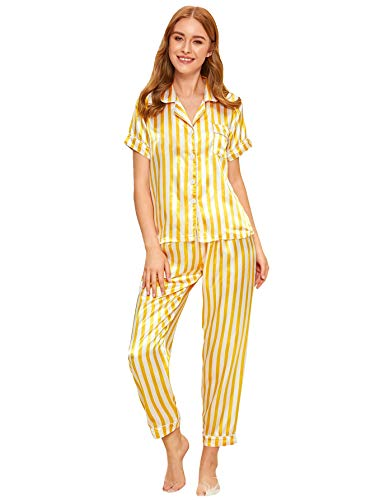 Verdusa Women's Pajamas Set Short Sleeve Long Pants Sleepwear Satin Nightwear Pj Lounge Sets Yellow L