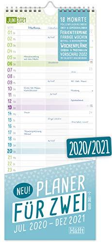 Planer für Zwei 2020/2021 Paarkalender mit 3 Spalten | Wandkalender für 18 Monate: Jul 2020 - Dez 2021 | Paarplaner Wandplaner, Chäff-Timer inkl. Ferientermine | klimaneurtal & nachhaltig