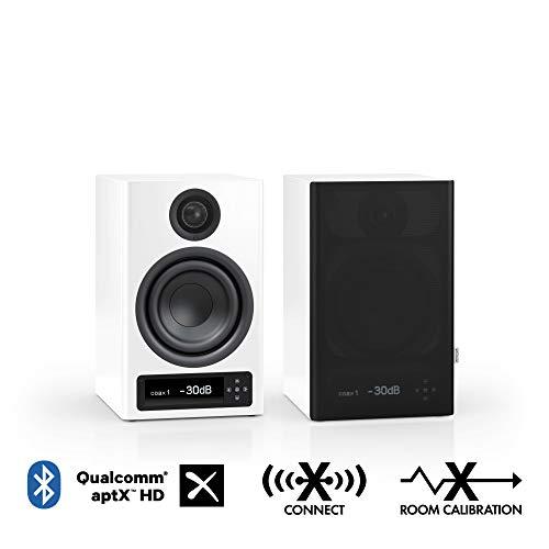 Nubert nuPro X-3000 RC Regallautsprecherpaar | Bluetooth Lautsprecher aptX HD | Lautsprecher Verbindung kabellos High Res | Schreibtischlautsprecher für Homeoffice | Kompaktlautsprecher Weiß | 2 Stück