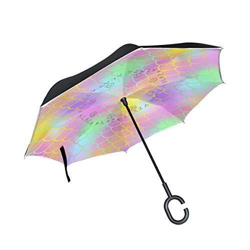 Double Layer Inverted Umbrella Winddichte Regensonnen-Regenschirme mit C-förmigem Griff - Fantastische Meerjungfrauen-Fischhaut im abstrakten Maßstab