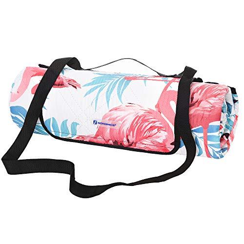 SONGMICS Picknickdecke, 200 x 200 cm große Stranddecke, Campingdecke, wasserdichte Unterseite, maschinenwaschbar, faltbar, für Garten, Park, Strand, Camping, große Flamingos GCM87PU