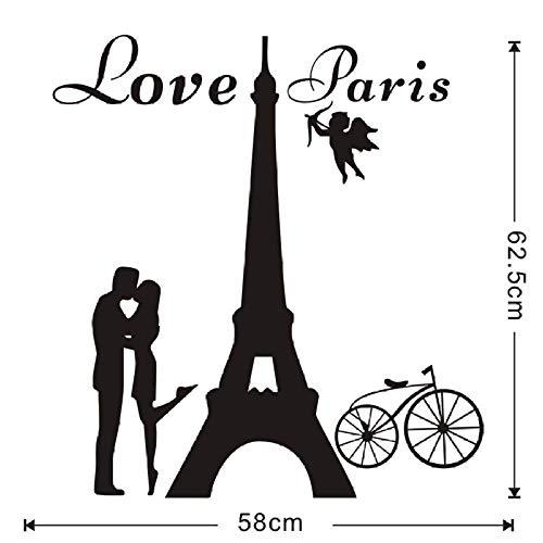 Engel lieben Paris Wandtattoos Liebhaber Küssen und Fahrrad Zitate abnehmbare Wohnkultur Kleber PVC Wandkunst Aufkleber Lounge 58X62cm