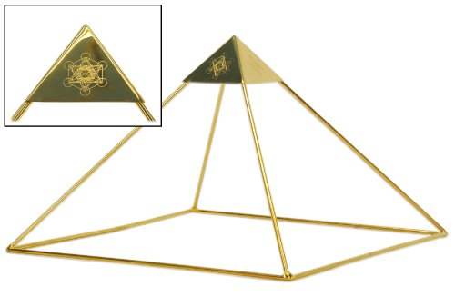 Meditation Pyramid- 9' Head Meditation Pyramid with Etched Metatron's Cube Capstone Gold Plated for Healing