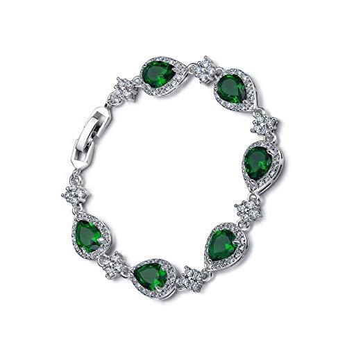 Pulsera de cadena de lágrima con circonita cúbica para mujer, color verde y plateado