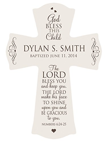 Personalized Baptism Cross for Boys & Girls for Table or Wall Display, ' The Lord Bless You and keep you. The Lord makes his face to shine upon you and Be Gracious to you.' Numbers 6:24-25 (Ivory)