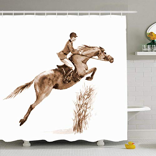 N/A douchegordijn 72x72 inch Equine Action Sepia Watercolor Rider Horse Jumping Champion Hurdle Wildlife Steeplechase Sport Waterdicht Polyester Stof Badkamer Gordijnen Set met Haken