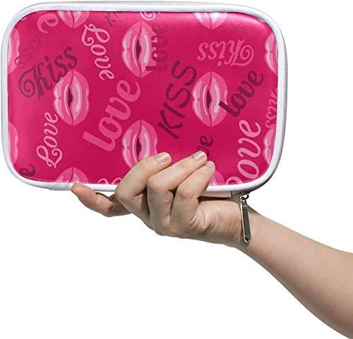 Pencil Case Holder Love Kiss Makeup Lipstick Zipper Pencil Pouce Cosmetic Makeup Brush Bag Stationery Pen Box Passport Multifunction Organizer