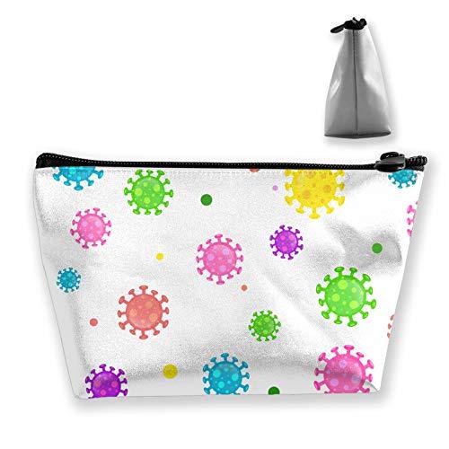 Bolsa de aseo de viaje portátil de microbiología de dibujos animados coloridos, organizador de maquillaje, bolsa de cosméticos para mujer y niña