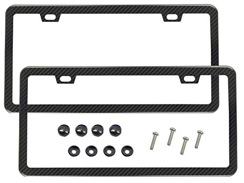 License Plate Frame Carbon Fiber Print Black / Set of 2 Frames Front & Rear with Hardware, Screws, Cover Premium