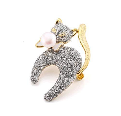 miwaimao Brosche, glänzende Katze, Cartoon-Katze mit natürlichen Perlen, hochwertiges feminines Temperament, niedlich, einfach, wilde Mode (Farbe, Gold, Größe, 2,9 x 4,2 cm), Gold, 2,9 x 4,2 cm.