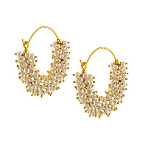 Indische Bollywood-Ohrringe, traditionell, Party, täglich, Mode, Perlen, vergoldet, Boho, Jhumka-Creolen, weiß