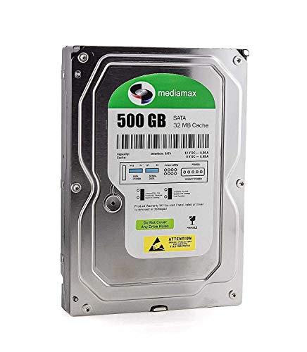 Mediamax interne Festplatte 500GB 3.5 Zoll HDD, SATA III, 6.0 Gb/s Cache 32MB, RPM: 7200 (U/min), WL500GSA3272B, SATA Festplatte intern 500 GB, Backup Festplatte für Desktop PC, Gaming Computer