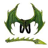 Schnuger Traje Dragón 1set Niños Dragón De La Fantasía Alas De Disfraces De Halloween Dinosaurio Animales Y Accesorios ala Cola De Traje De Fiesta De Halloween (Verde)