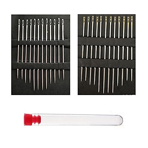XINGSUI 24 agujas de enhebrado automático, 12 agujas ciegas para cada uno de los dos estilos, agujas de coser a mano de enhebrado automático, adecuadas para agujas de zurcir ciegas y ancianas