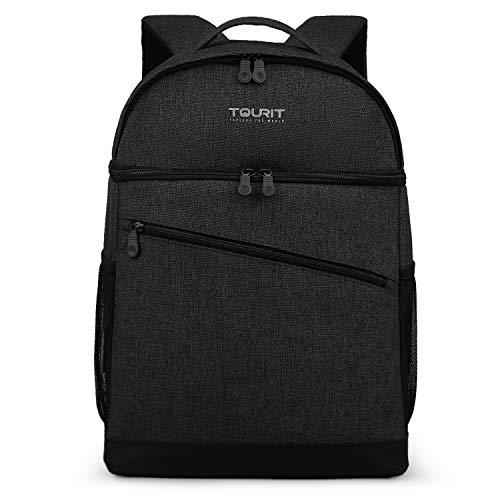 TOURIT 28 Cans Backpack Cooler Leak-Proof Insulated Soft Cooler Double Deck Lunch Cooler Backpack for Men Women to Beach, Boat, Hiking, Picnics or Day Trips (Black)
