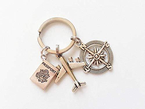 Bijvoorbeeld accessoires, sleutelhanger, vliegtuig, Passaporto kompas aanhanger, volo reizen, souvenir, cadeau