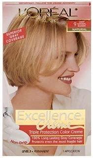 L'OrÃal Paris Excellence CrÃme Permanent Hair Color, 9 Light Natural Blonde, Pack of 1 kit 100% Gray Coverage Hair Dye