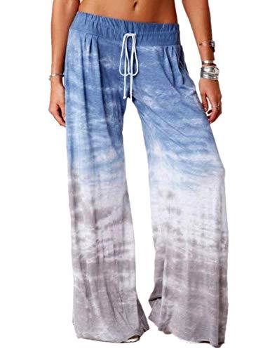 Pantalones Deportivos De Pierna Ancha con Estampado De Color Degradado Suelto para Mujer