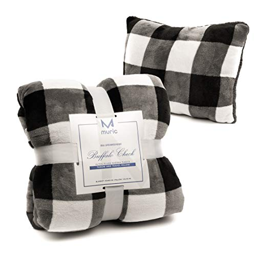 Muric Buffalo Check Sherpa Fleece Blanket and Pillow Set – Ultra Soft Matching Plaid Throw and Personal Pillow, Plush Flannel for Couch, Bed, Outdoors, Travel, 50x60, Black & White