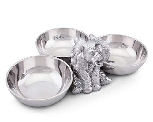 "Arthur Court Designs Aluminum Metal Sitting Elephant Three-Bowl Nut/Candy/Snack Bowl Dish 5"" Tall"
