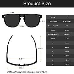 CHEREEKI Mens Polarised Sunglasses, Polarized Sunglasses for Men Women with UV400 Protection and Ultralight Frame (Black) #3