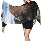 27'x77 Hombres Bufanda Bufanda de bisonte feroz fuerte para adolescentes Chales y abrigos para vestidos de novia Elegante manta cálida grande