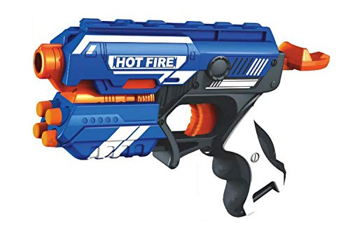 A3 Creations Plastic Blaze Storm Manual Soft Bullet Gun Toy with 10 Safe Soft Foam Bullets, Fun Target Shooting Battle Fight Game for Kids (Pack of 1, Multicolor)