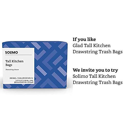 Amazon Brand - Solimo Tall Kitchen Drawstring Trash Bags, 13 Gallon, 200 Count