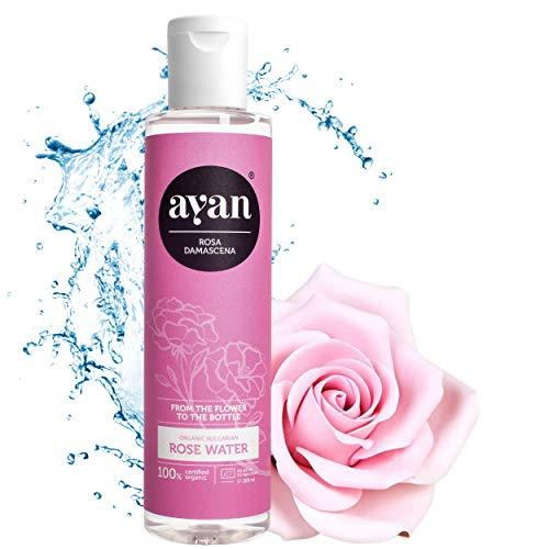 AYAN Rosenwasser Naturkosmetik 100% pure Zertifizierte Bio Qualität: Ohne Alkohol Damaszener Rosen- Gesichtswasser für reine und straffe Haut 200ml - Rose Water Reinungswasser