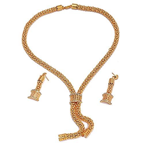 VAWAA Conjunto de Joyas de 24 K, Conjuntos de Joyas de Color Dorado de Dubai para Mujer, Collar, Pendientes, Pulsera, Anillo, Piedra de circonita Africana, Conjunto de Regalos de Boda