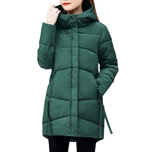 Moonuy Women Winter Warm Hooded Jacket Long Overcoat Women's Outdoor Jacket Thick Outerwear Hooded Coat Slim Cotton-Padded Jacket Down Coat with Fur Hood Thicker Winter Long Parka Jacket Green