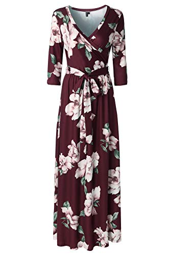 Zattcas Womens 3/4 Sleeve Floral Print Faux Wrap Long Maxi Dress with Belt,Wine Red,Large