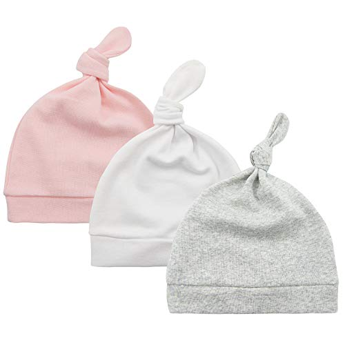 Baby Beanie Knot Baby Girl Hats Newborn Baby Beanies for Boys Girls Gifts Unisex Baby Accessories Fits 0-6 Months 3 Pack Pink & White & Grey
