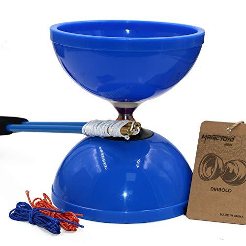MAGICYOYO Diabolo MD01 Rodamientos triples Profesionales con Palos de Carbono de Primera Calidad Bolsa de 3 Cuerdas Diabolos para Principiantes para niños Adultos Azul