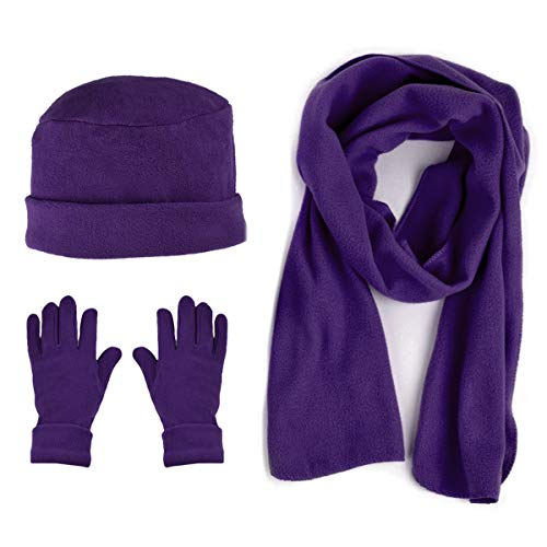 Women's Warm Polyester Fleece Winter Set Fur Trim - Glove Hat and Scarf Set for Women - One Size (Purple 50)