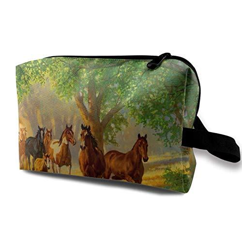 XCNGG Bolsa de almacenamiento de maquillaje de viaje, bolso de aseo portátil, pequeña bolsa organizadora de cosméticos para mujeres y hombres, caballos en un hermoso otoño