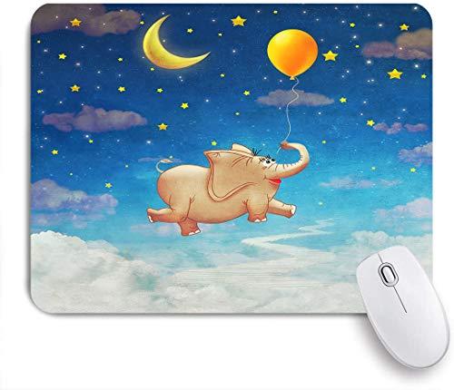 NOLOVVHA Gaming Mouse Pad Rutschfeste Gummibasis,Netter kleiner Elefant, der am bunten Luftballon im Himmel fliegt,für Computer Laptop Office Desk,240 x 200mm