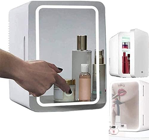 Mini refrigerador de 8 litros, refrigerador cosmético, espejo de maquillaje dos en uno, refrigerador de cuidado de la piel con luz LED, refrigerador portátil compacto