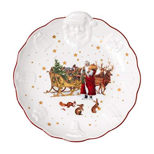 Villeroy & Boch - Toy's Fantasy Schale mit Santa-Relief Nostalgie, Premium Porzellan, 24 x 25 x 4.6 cm, bunt/rot/weiß