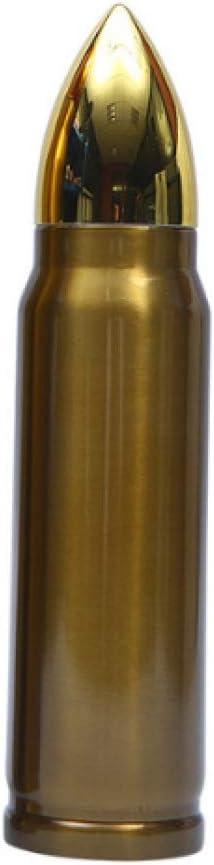 Termo En Forma De Bala De Oro Hervidor De Agua Inoxidable Taza De Viaje Con Aislamiento Botella De Vacío Deportes Al Aire Libre Protección Del Medio Ambiente Repetible 500 Ml