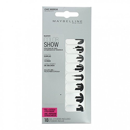 Maybelline Colour Show 18 Fashion Print Nail Stickers With File-18 Silver City