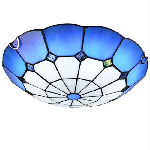 Yjmgrowing Plafonnier à LED encastré Bleu méditerranéen Plafonnier de Chambre à Coucher en vitrail Fait Main Éclairage de Balcon d'allée de Style Tiffany,Patch LED, 12W / 18W,Whitelight,40cm