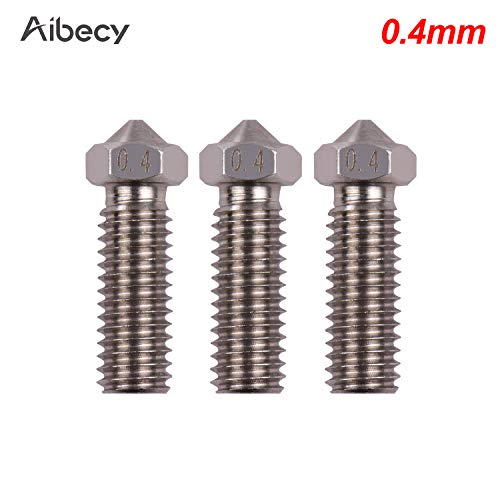 Baugger Extruder Nozzle,3pcs 3D Printer Extruder Stainless Steel Volcano Nozzle M6 Thread Printer Head 0.4mm Output for Sidewinder X1 TEVO Little Monster 1.75mm Filament