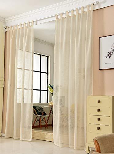 Transparente Gardine mit Schlaufen 1 Stück Fensterschal in Leinen-Optik Dekoschal in Sand 140x225 cm Schlaufenschal für Schlafzimmer Kinderzimmer Küche Stores Vorhang Fenstervorhang