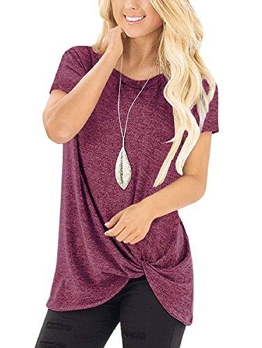 Amoretu Langarm-Oberteil für Damen mit gedrehter Optik, Blusen, T-Shirts Gr. 44-46, burgunderfarben
