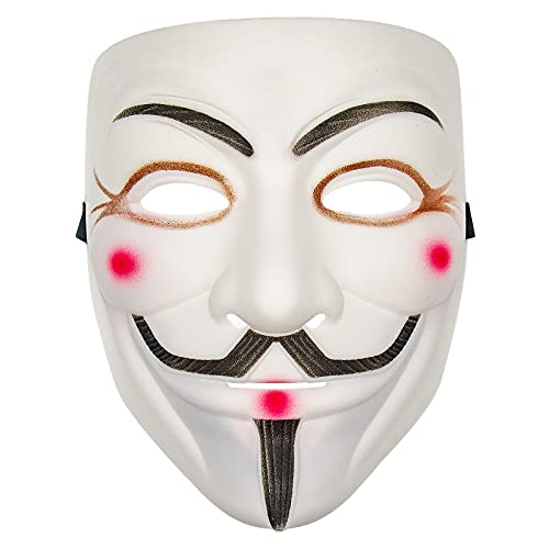 V for Vendetta Hacker Mask Halloween – Cosplay Costume Anonymous Masks for Kids Adults (White)