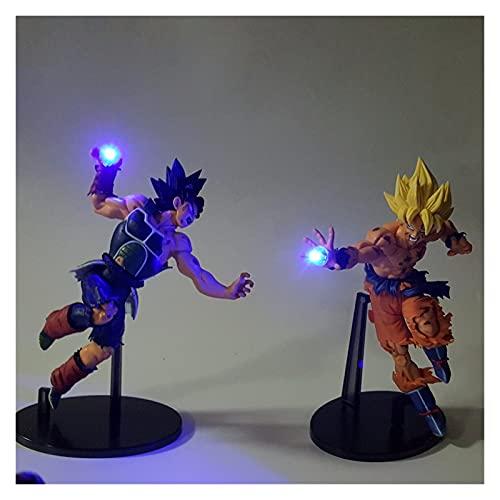 MOLUO Lámpara luz Nocturna niños Dragon Ball Z Figuras de acción Son Goku Burdock Kamehameha LED Luz 150mm Anime Dragon Ball Super Saiyan DBZ (Color : Both)