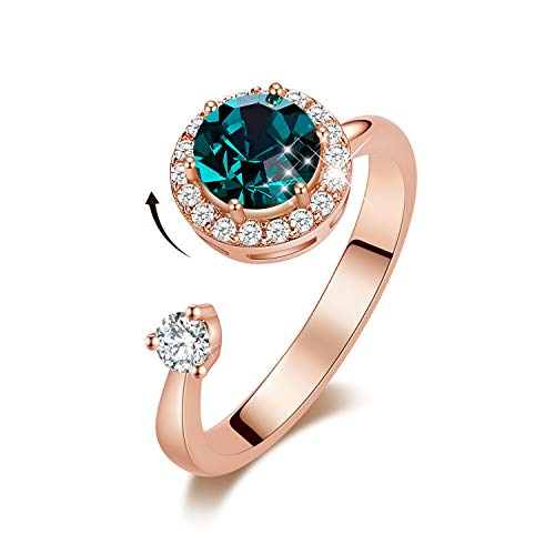 CDE May Birthstone Rings 18K Rose Gold Plated Rotating Crystals from Swarovski Jewely Birthday Mothers Day Jewelry Gift for Girls
