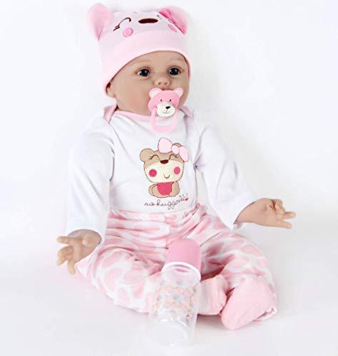 Muñecas Reborn bebé 22 inch Reborn Niña Dolls Toddler Vinilo Suave Baby Rebirth Hecho a Mano Recién Nacido Renacimiento Ropa Realista Muñeca Silicona